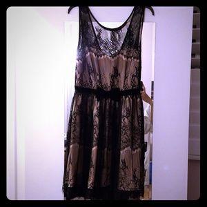 NWOT Forever 21 pink/black lace knee length dress